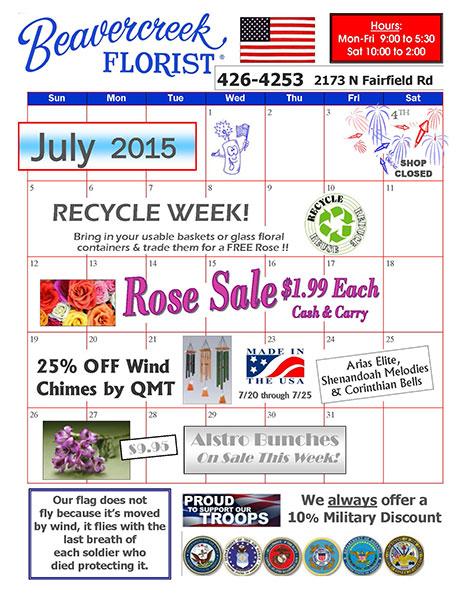 July Sales and Events at Beavercreek florist