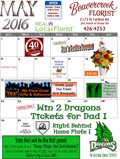 May Sales and Events at Beavercreek florist