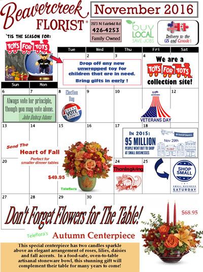 November Sales at Beavercreek Florist