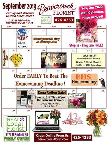 This month's Sales at Beavercreek Florist