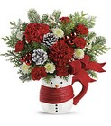 Send a Hug Snowman Mug Bouquet by Teleflora in Beavercreek, Ohio, near Dayton, OH