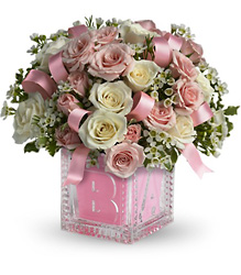 Baby's First Block by Teleflora - Pink in Beavercreek, Ohio, near Dayton, OH
